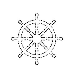Ship wheel sign black dashed icon on vector