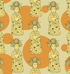 Sketch Japanese doll in vintage style vector image