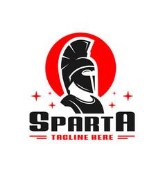 spartan fighter logo design vector image
