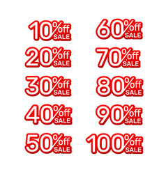Sticker red banner collection off with share vector