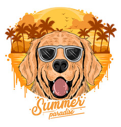 summer golden dog with coconut tree island and be vector image