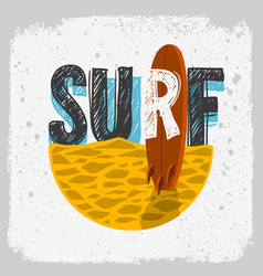 Surfing surf design with a surf board on the beach vector