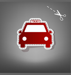 taxi sign red icon with for vector image