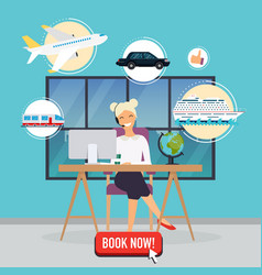 Travel agency concept woman sitting at table vector