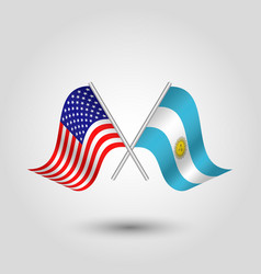 Two crossed american and argentine flags vector