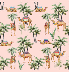 Watercolor camel and palm pattern vector