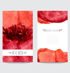 watercolor floral cards set vector image