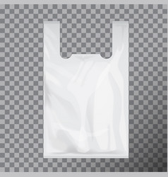 White disposable t-shirt plastic bag package vector