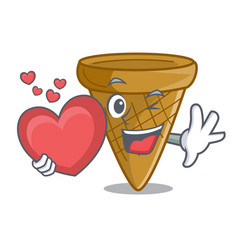 with heart empty wafer cone for ice cream vector image