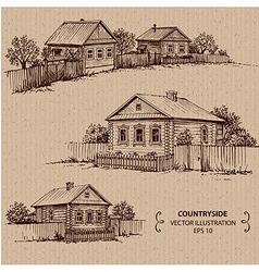 Wooden houses in the village vector