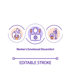 Worker emotional discomfort concept icon vector