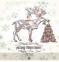 xmas greeting card with north deer bells vector image