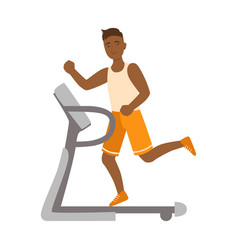 Young man running on thread mill colorful cartoon vector