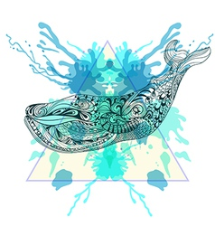 Zentangle stylized Whale in triangle frame with vector