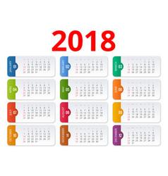 2018 calendar print template week starts sunday vector