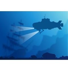Blurred underwater background with submarine vector