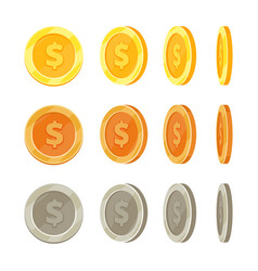 Cartoon golden coins in different positions gold vector