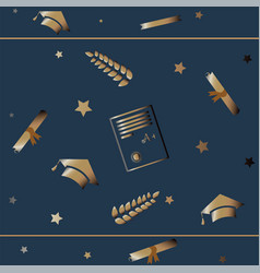 cute graduation background with golden graduation vector image vector image