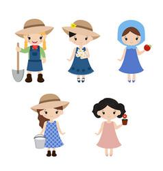 set of farmer girls set of farmer girls vector image