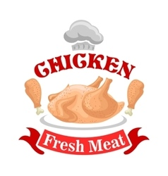 Chicken meat shop sign vector image vector image