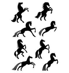 horses heraldic silhouette icons vector image