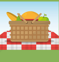 picnic basket full food red and white blanket vector image vector image
