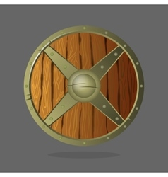 Round armor shield made of wood and metal vector image