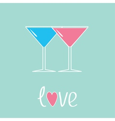 Two glasses of martini Love card vector image