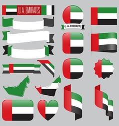 United Arab Emirates flags vector image