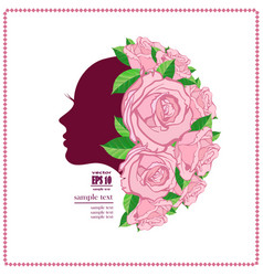 womans face in flower vector image