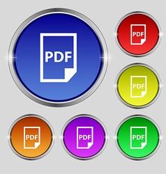 Pdf icon sign round symbol on bright colourful vector