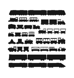 Set black silhouette silhouettes of trains vector image