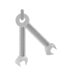 two spanner wrench mechanic tool outline vector image