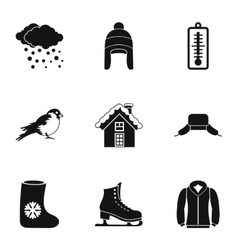 Weather winter icons set simple style vector image vector image