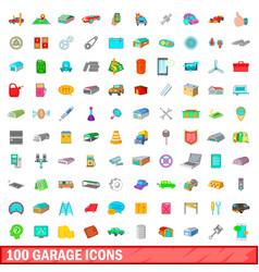 100 garage icons set cartoon style vector