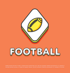 American football colour icon with ball vector