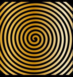 black gold round abstract vortex hypnotic spiral vector image