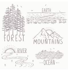 magnificent nature set vector image vector image