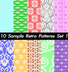 10 Retro Patterns Textures Set 1 vector