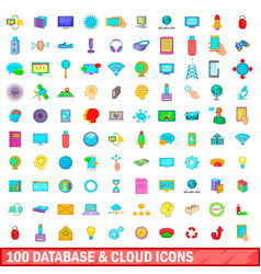 100 database and cloud icons set cartoon style vector