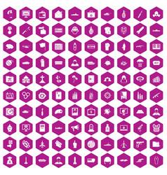 100 war icons hexagon violet vector image