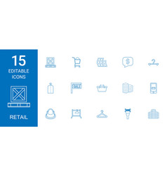15 retail icons vector