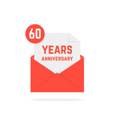 60 years anniversary missive in red envelope vector