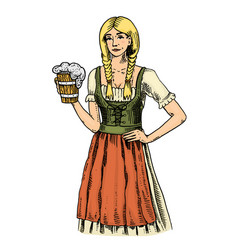 A woman in traditional belgian or bavarian clothes vector