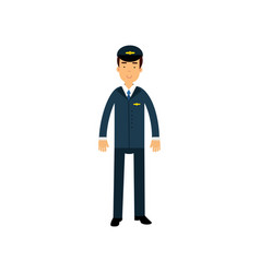 Airline pilot in blue uniform standing with bag vector