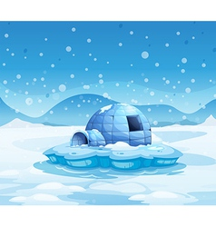 An iceberg with an igloo vector