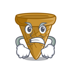 Angry empty wafer cone for ice cream character vector