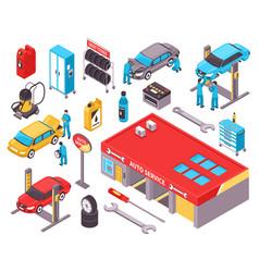 Auto service isometric icons set vector