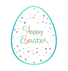 Beautiful blue outline easter egg with colored vector