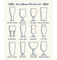 Beer glassware line icons vector